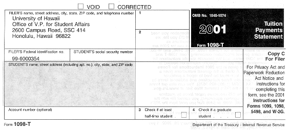 University of Hawaii | Sample 1098T Form