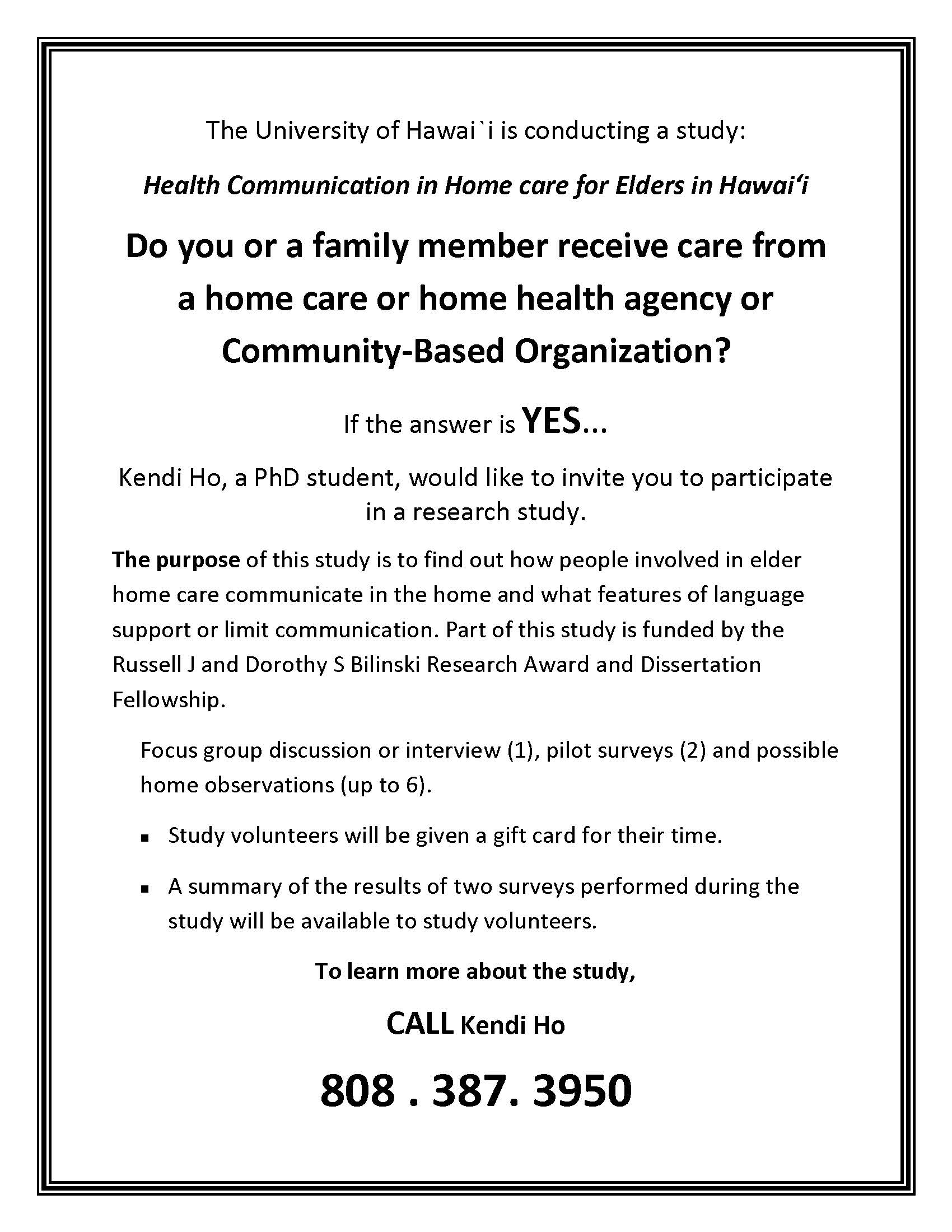 Health Communication in Home care for Elders in Hawaii with Kendi Ho