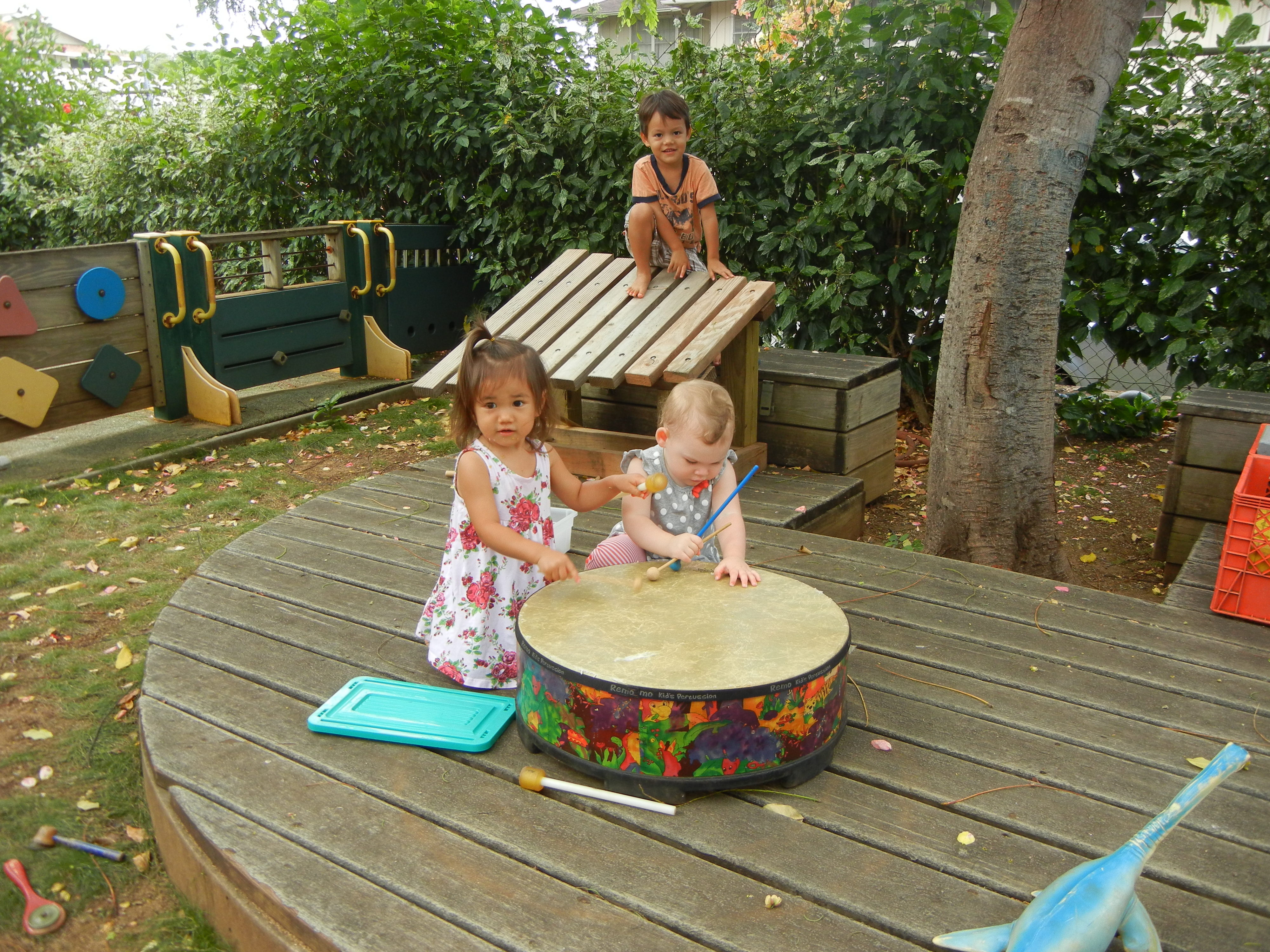 toddler deck drumming