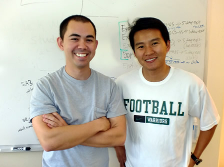 PhD candidate in Psychology Michael Corley (l) and McNair Scholar Nong Dang, biology major.