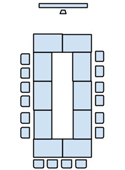 Room 105B seating layout (hollow square).