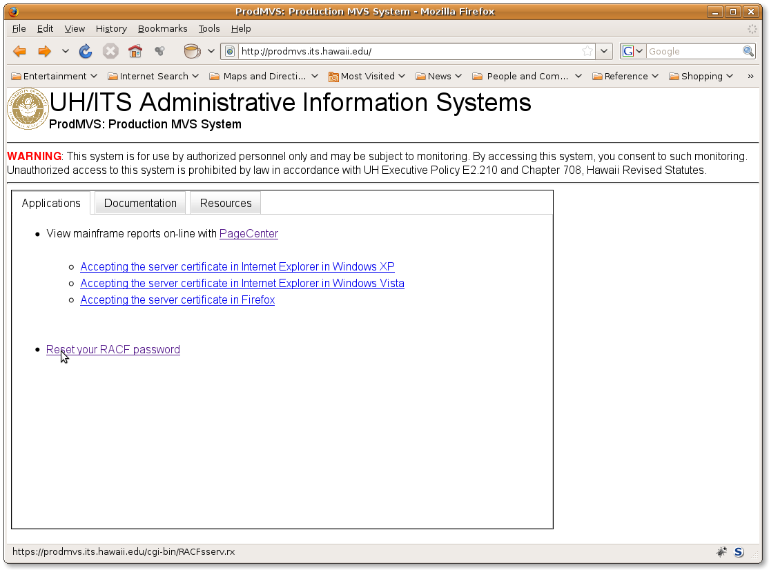 Screen shot of the PRODMVS web applications tab