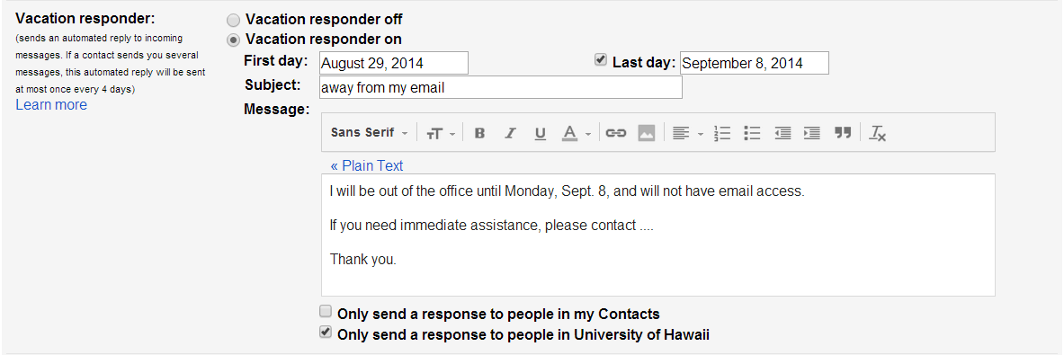 How do I set a vacation message for my Google@UH Gmail