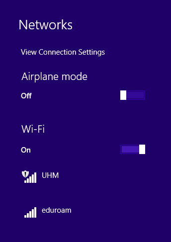 List of available wireless networks