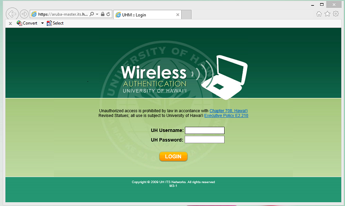 UHM wireless login