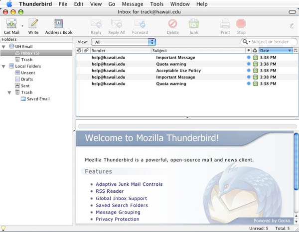 Thunderbird Main Window