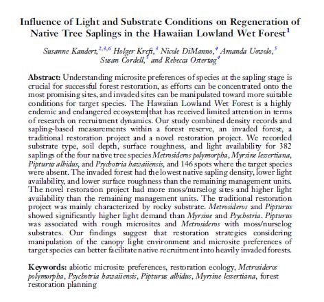 front page of Kandert et al. Pacific Science publication