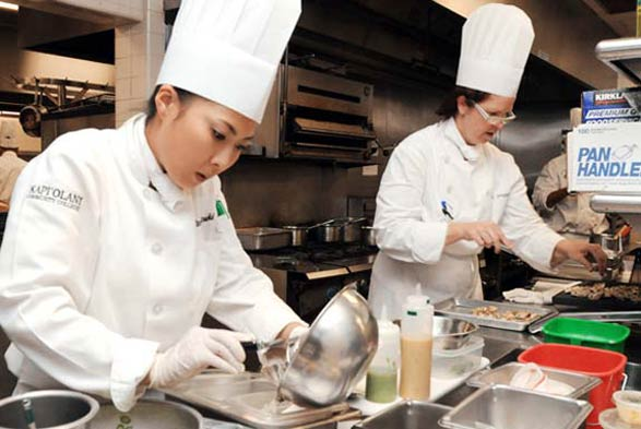 Team Hawaii working in the kitchen