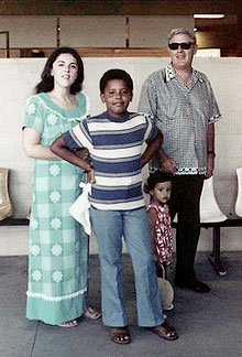 Ann Dunham with her children Barack and Maya and father, Stanley Dunham in Honolulu.