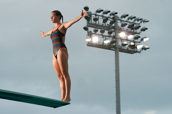 Emma Friesen on diving board