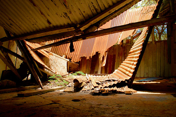 collapsed roof of one of the Honouliuli buildings