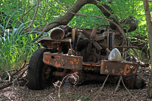 rusted vehicle at the 120-acre camp