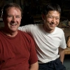 Master carver Hideta Kitazawa and woodshop manager David Landry