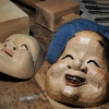 Kyogen masks in different stages of completeness