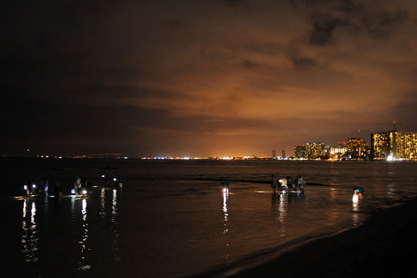 Honolulu skyline from the beach at dusk, people with lights standing in shallow water