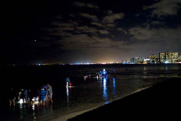 Honolulu skyline after dark with people standing in shallow water with lights
