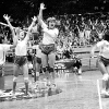 Hawaii women's volleyball team celebrating a win in 1979