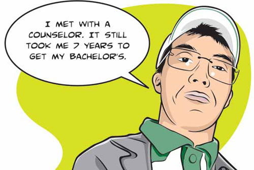 Illustration of Jon Oshiro, who graduated in 7 years with a math degree) saying, I met with a counselor and it still took me 7 years to get my bachelor's.
