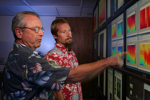 David Karl, left, and Eric Grabowski before a bank of monitors that provide data feeds from a summer experiment of the ocean's ability to absorb CO2