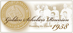 Banner reading Golden Scholars Reunion Honoring the Class of 1958 with historical group photo and alumni medal