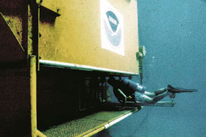 Aquanauts called the underwater habitat home for 10 days. Photo courtesy NOAA and UNC Wilmington