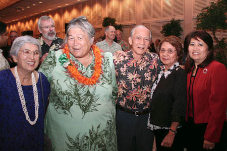 Pictured from left are Marjie Yokoyama, Haunani Apoliona, Masaru Oshiro, Kiyoko Oshiro and Leah Chang