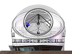 Artist's rendering showing hexagonal mirror segments