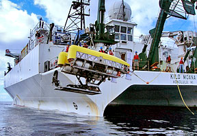 ROV Nereus is launched from UH's R/V Kilo Moana; photo by Matt Heintz, Woods Hole Oceanographic Institution