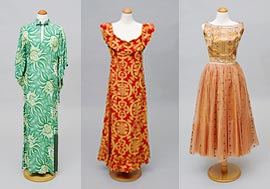 Three island-style dresses from the Historic Costume Collection at UH Manoa