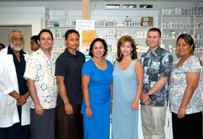 Samoa pharmacists Malaefou Anesi, far left, and Evelyn Ahhing-Faaiuaso, far right, welcome UH Hilo students Daniel Navas and Robert Esteban and faculty members Carolyn Ma, Anita Ciarleglio and Scott Holuby