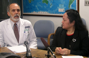 Drs. Tod Abey and Chiyome Fukino at news conference