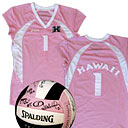 Pink volleyball and jersey