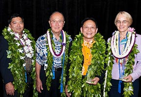 group shor of Hall of Honor inductees in maile lei