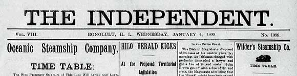 The Independent, an English-language newspaper from Hawaii circa 1809