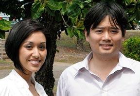 Student Yvonne Yokono and Assistant Professor Garyn Tsuru; photo by Valentino Valdez