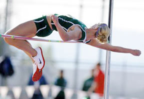Amber Kaufman clearing the high jump bar