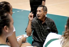 Dave Shoji coaching Rainbow Wahine volleyball