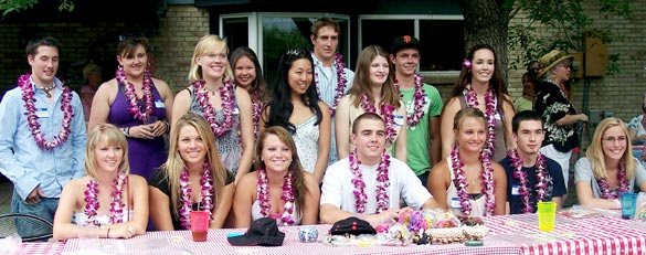 group shot of students with lei
