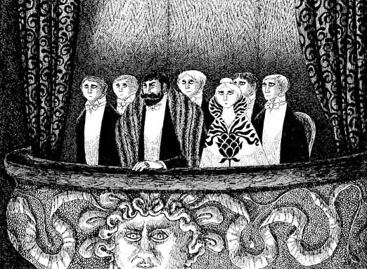 illustration of theater-goers by Edward Gorey