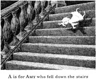 line drawing of girl falling down stairs with the caption A is for Amy who fell down the stairs