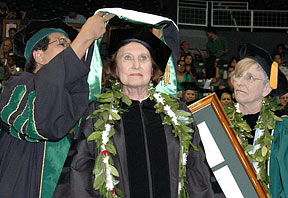 Patti Lyons receiving her honorary degree