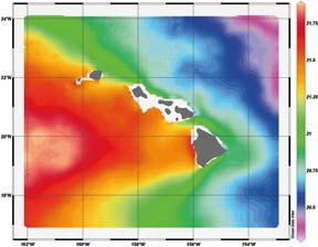 thermal imagery of the Hawaiian Islands and surrounding ocean