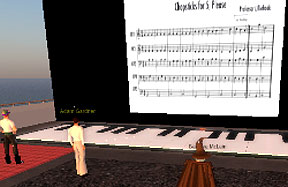 avatars at the floor piano in Second Life