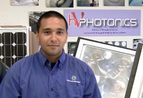 David Kim in front of a photon display
