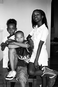photograph of three children, entitled Bookhart Kids by Tracy Wright Corvo