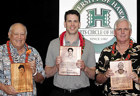 Dickie Furtado, Yuval Katz and Jackson Wheeler with plaques