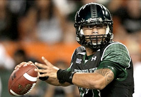 Hawaii football quarterback ready to throw a pass