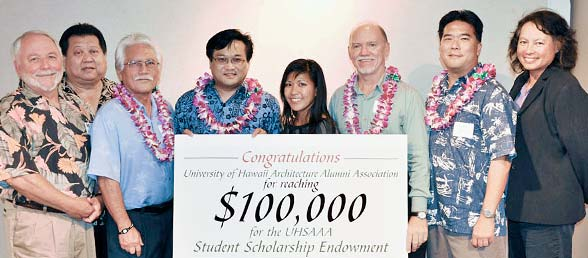 Group of people holding giant $100,000 check