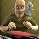 animated still of a man eating a fish with a cat on his shoulder
