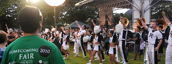 cheerleaders at homecoming pep rally